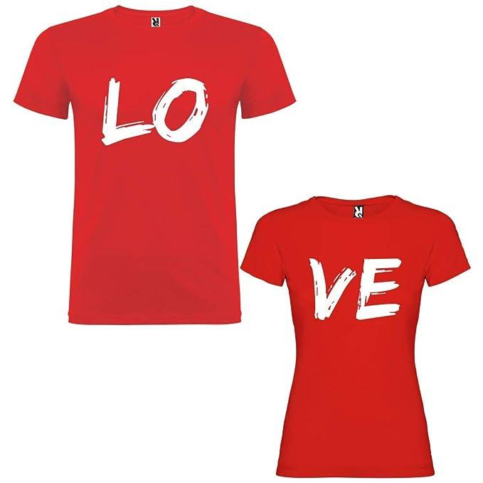 Pack de 2 Camisetas Rojas para Parejas Love Blanco (Mujer Tamaño L + Hombre Tamaño