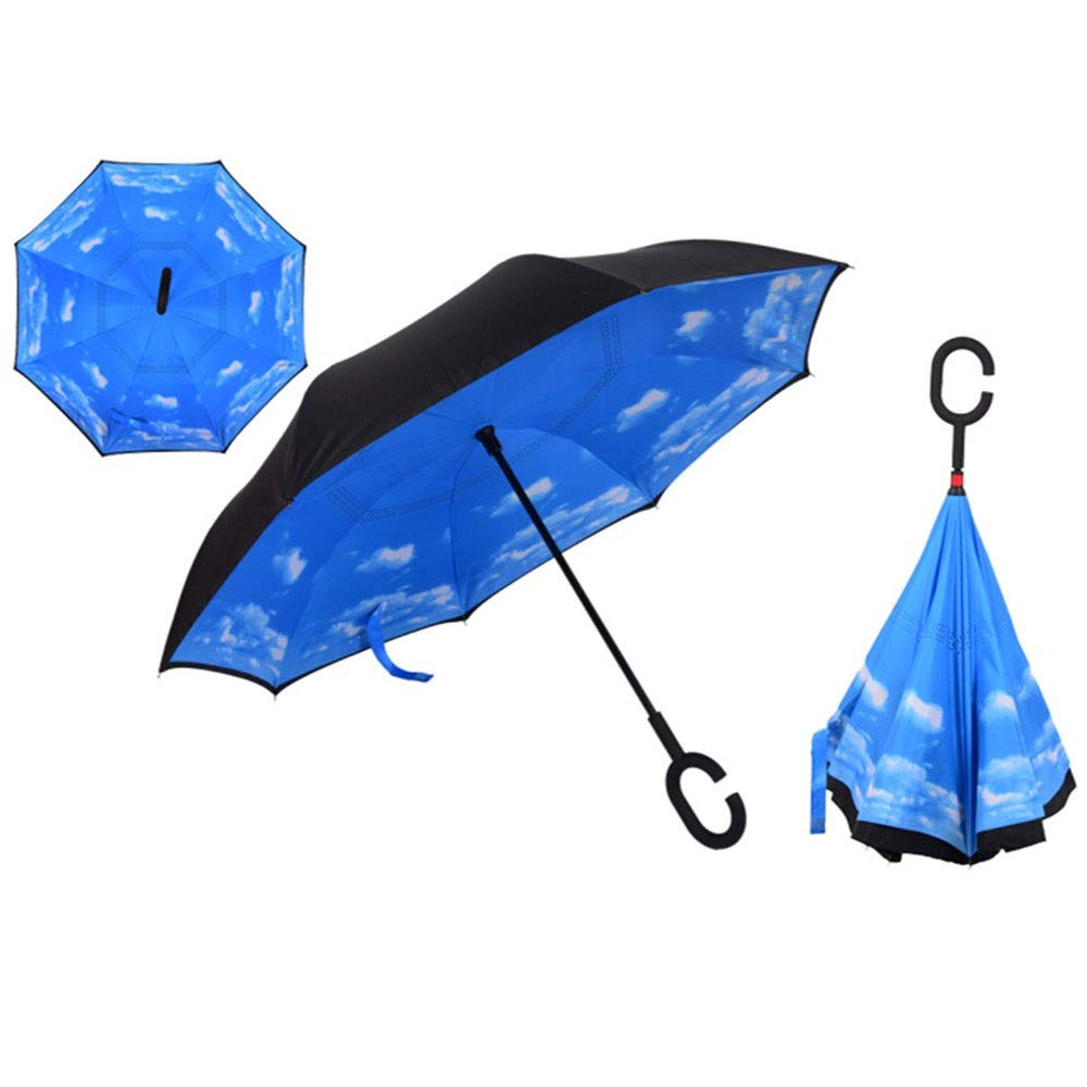 ZAIHW Double Layer Inverted Umbrella - Reverse Double Layer Long Umbrella, C-Shape Handle & Self-Stand to Spare Hands,Carrying Bag for Easy Traveling (Color : A)