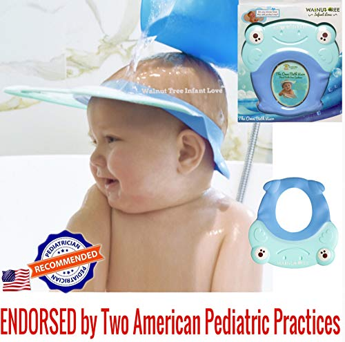 Walnut Tree Omni Bath Shower Visor Protection Soft Cap for Shower and Bath Time Safety for Toddlers, Baby and Children [1 Year Old+ Recommended] (Sky Blue) ()
