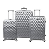 3 Piece Metallic Geometric Diamond Pattern Rolling Lightweight Expandable Luggage Set Suitcases, Classic Gem Stone Themed, Softsided, Checkpoint Friendly, Multi Compartment, Soft Travel Cases, Silver