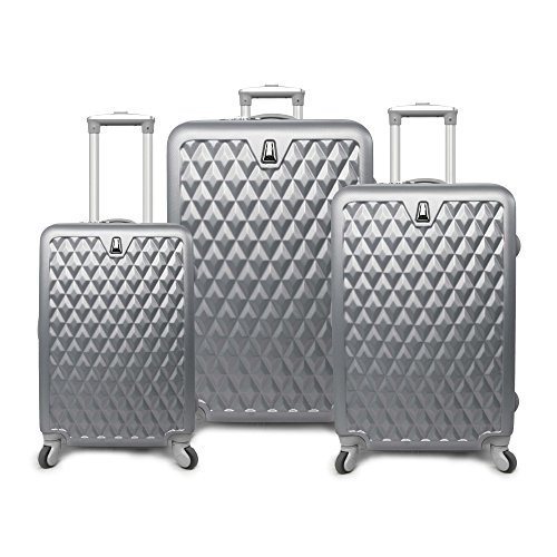 3 Piece Metallic Geometric Diamond Pattern Rolling Lightweight Expandable Luggage Set Suitcases, Classic Gem Stone Themed, Softsided, Checkpoint Friendly, Multi Compartment, Soft Travel Cases, Silver by S & E