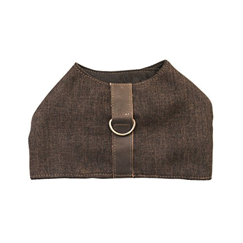 Durable & Soft Linen Dog Harness For Small Dogs Handmade by Hide & Drink :: Brown - Joque Harness