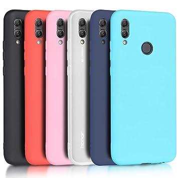 Wanxideng - 6X Funda Huawei P Smart 2019 / Honor 10 Lite, Carcasa Suave Mate en Silicona TPU, Soft Silicone Case Cover [ Negro + Blanco Translúcido + ...