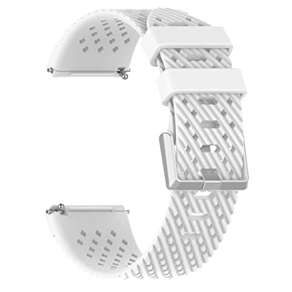 Silicone Holes Smart Watch Band Wrist Strap Replacement for Fitbit Versa Lite - White L by Bullker