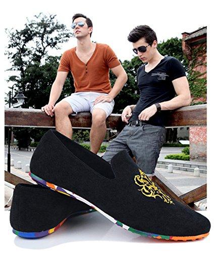 Loafers Los Black Slip Hombres Mocasines Cómodos Tamaño Velvet Terciopelo Gran on Suaves De Zapatos Conducción gxqw1n6w4