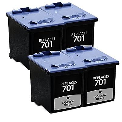 Tyjtyrjty Cc635a Compatible Ink Cartridge for Hp 701 Hp Fax 640, 650, 2140 Printer (4x Black)