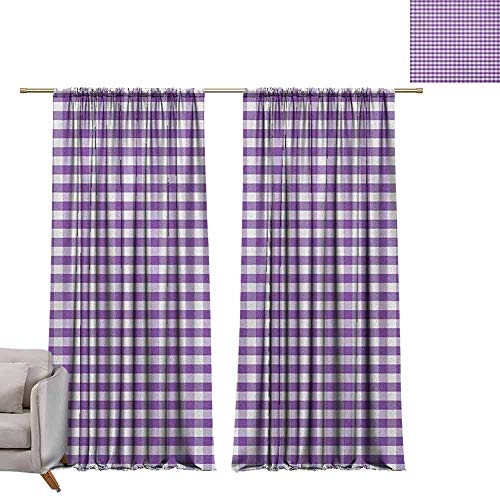 berrly Decorative Curtains for Living Room Checkered,Purple and White Colored Gingham Checks Rows Picnic Theme Vintage Style Print, Purple White W108 x L84 Customized Curtains ()