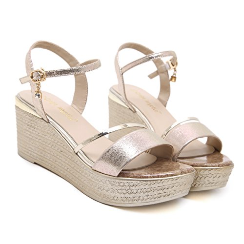 Shoes H Summer Platform Con Zeppa Toe Alti Womens Sandali amp; D'oro Tacchi 7cm W Open UrqY8pU