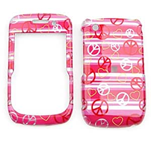 CELL PHONE CASE COVER FOR BLACKBERRY CURVE 8520 8530 9300 TRANS PEACE HEARTS ON PINK