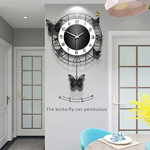 ANMIKI 14.9 INCH Metal Black Drop Wall Clock,Pretty Butterfly Design,Non-Ticking Silent Quartz Clock