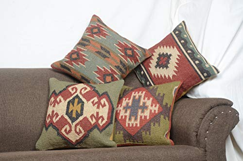 Chouhan Rugs 4 PCS Set of Hand Woven Jute Kilim Cushion Cover Indian Vintage Pillows 18X18 Rug Boho Shams ()