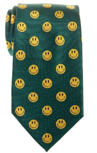 Retreez Happy Smiley Face Emoticon Woven Microfiber Men's Tie - Green, Christmas Gift (Usa Emoticon)