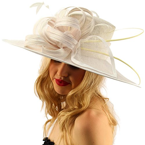 SK Hat shop British Regal Sinamy Ribbon Feathers Quill Derby Floppy Bucket Dressy Hat White ()