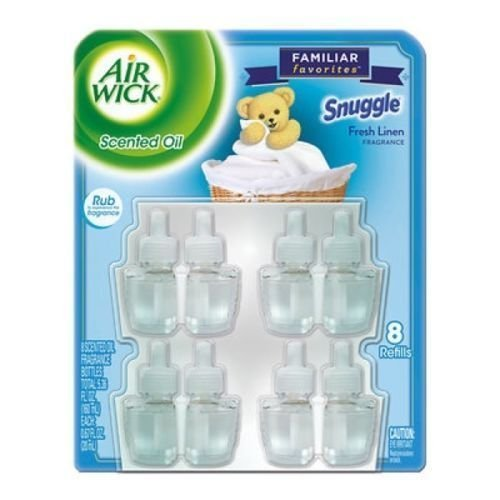 LOT OF 4 Airwick Snuggle Fresh Linen Scent Scented Oil Refills Pack 32 Refills