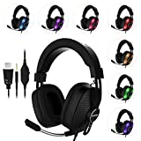 Gaming Headset for PS4, PC, Xbox One, MUTOUREN Noise Cancelling Over Ear Headphones with Mic, LED Light, Bass Surround and Soft Memory Earmuffs for Laptop Mac Nintendo Switch Games