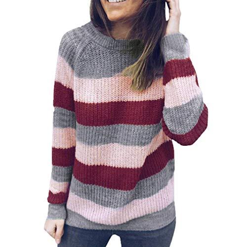 Maniche Lunghe Felpe a Maglia Donna Tinta Unita Maglione a Righe Moda Loose Fit Casual Pullover Autunno Inverno Maglione Cappotto Tops S-XL Rosa