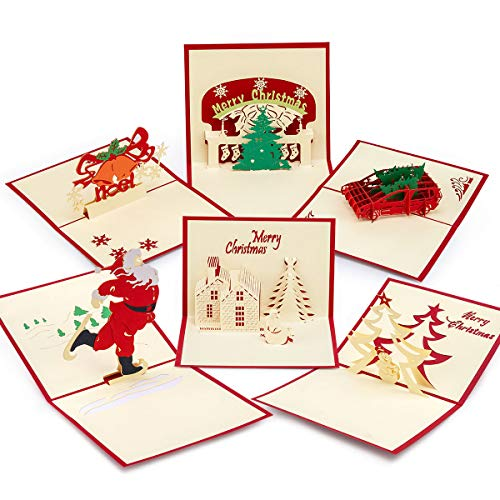 3D Christmas Cards with Envelopes - Xmas Holiday Pop Up Greeting Cards Include Christmas Tree,Santa,Bells,House,Snowman (Set of 6)