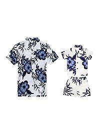 Matching Father Son Hawaiian Luau Outfit Men Boy Shirts Shorts White Navy Floral
