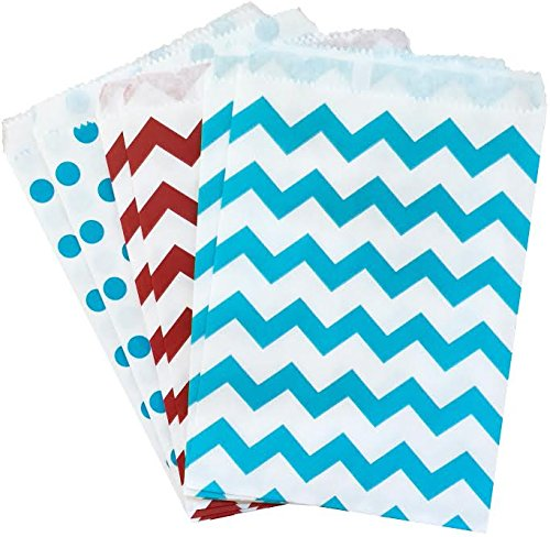 Dr Seuss Paper (Dr. Seuss Themed Paper Favor Sacks - Red Blue White - Chevron Polka Dot Favor Bags - 5.5 x 7.5 Inches - 48)