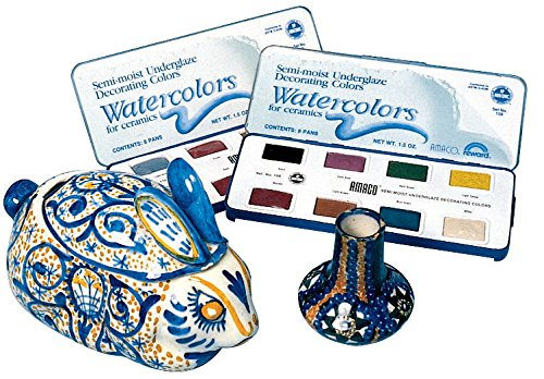 (AMACO Non-Toxic Semi-Moist Underglaze Set - B in Pan, 1.5 oz, Assorted Color, 8 Color)