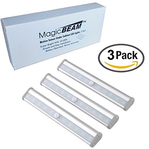 Magic BEAM Under Cabinet LED Light with Sensor, Daylight White Wireless Motion Sensor LED Light Bar, Stick On Anywhere, 10 LED Under Cabinet Lighting - 3 Pack