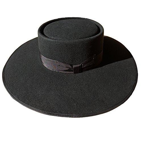 Black Wool Felt Exra Large Wide Brim Pork Pie Porkpie Flat Hat For Women 4 5/8