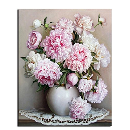 [Wooden Framed] Diy Oil Painting Paint by Number Kit for Adults Kids - Peony 16x20 Inch (Number By Peonies Paint)