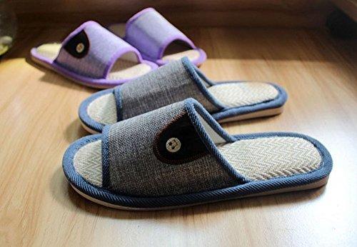 Bronze Times (tm) Unisex Premium Pu Botón De Cuero Flax House Slipper Purple