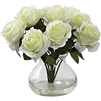 Nearly Natural 1367-WH Rose Arrangement with Vase, White