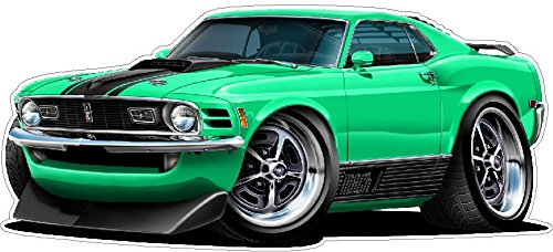 1970 Mustang Mach 1 WALL DECAL 2ft long Reusable Movable 70s Classic Cars America Vintage Vinyl Print Stickers (Reusable Car Wall Decal)