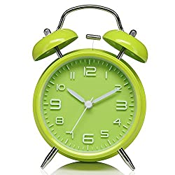 4 Twin Bell Alarm Clock with Stereoscopic Dial, Silent Quartz Analog Non-ticking Retro Classic Bedside Alarm Clock with Loud Alarms and Night Light (Green)