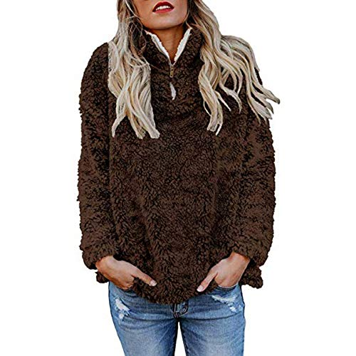 TOTOD Womens Pullover, Women Chic Fluffy Solid Zip Up Sweatshirt - Ladies Winter Teddy Warm Plush Outwear Tops -