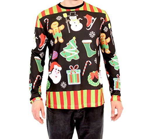 Ice Agent Costume (Holiday Symbols All Over Black Long Sleeve Ugly Christmas T-Shirt (Small))