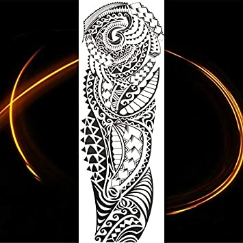HXMAN Gran Brazo Completo Negro Tótem Temporal Tatuaje Maorí Falso ...