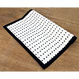 Aztec Cotton Rug Black and White Geometrical Navajo Print Bohemian Tribal 100% Cotton Size Available (48X72) (36X60)