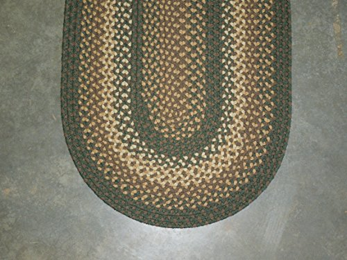 2' x 3' Basketweave Braided Rug - Rug Green Basketweave