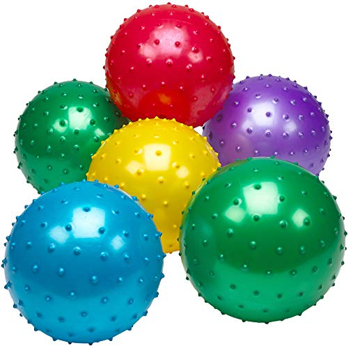 Bedwina Knobby Balls – (Pack of 6) Bulk 7 Inch Sensory Balls and Spiky Massage Stress Balls, Fun Bouncy Ball Party Favors, Stocking Stuffers for Kids, Toddlers