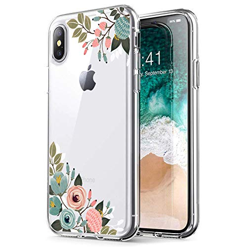 MURMAZ Case for iPhone X Case iPhone Xs Case, Cute Girl Floral Printed Flower Pattern Clear Design Transparent Hard Slim Back with Soft Bumper Protective Cover for iPhone X/XS(Vintage Flower X)
