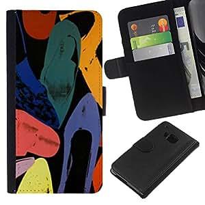 All Phone Most Case / Oferta Especial Cáscara Funda de cuero Monedero Cubierta de proteccion Caso / Wallet Case for HTC One M7 // Abstract Art Colors Watercolor
