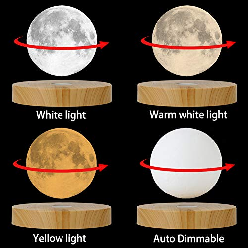 AOXIN Moon Lamp, 3D Printing Magnetic Levitation Moon Light Lamps with 360 Auto Rotating and 4 Working Light Modes - for Home、Office Decor, Creative Gift (3.9 Inch)