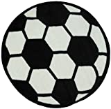 Soccer Ball Area Rug 39'' Round Kids Sports Area Rug - Rugs 4 Less Collection