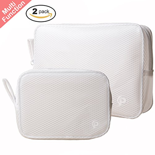 UPC 768430612254, Set of 2 Toiletry Travel Bag Organizer for Men and Women - Wipe to Clean Waterproof Cosmetic Pouch Makeup Bag - Handy Multifunction Zipper Pouches for Travel, Home, Work, Sports or Fishing