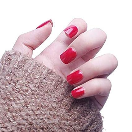 yunail 24 pcs 12 tamaños color sólido pre-glue uñas postizas corto prensa en estilo