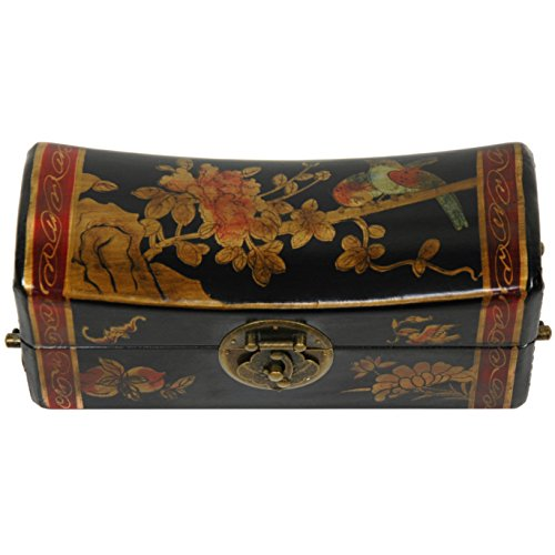 Oriental Furniture Lacquer Flowers Pillow Box