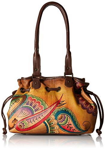 Anuschka Anna by Handpainted Leather Draw-String Tote, Royal Paisley