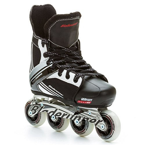 Bladerunner Youth Dynamo Adjustable Hockey Skate with 72mm Wheels, Black/White, Size 4 - 7