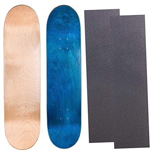 - Cal 7 Blank Maple Skateboard Decks with Grip Tape| Two Pack (Natural, Blue, 8.25 inch)