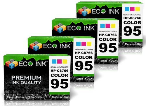 375 Ink (ECO INK © Compatible / Remanufactured for HP 95 C8766WN (4 Color) Ink Cartridges for HP PhotoSmart 2500,325v, 428xi, 8450w, 2570, 325xi, 475, 8450xi, 2571, 335, 475v, 8458, 2573, 335v, 475xi, 8750, 2575, 335xi, 7830, 8750gp, 2575v, 337, 7838, 8750xi, 2575xi, 375, 7850, 8753, 2577, 375B, 8030, 8758, 2578, 375v, 8038, B8330, 2600, 375vi, 8049, B8350, 2608, 385, 8050, C4110, 2610, 385v, 8050x, C4140, 2610v, 385xi, 8050x, C4150, 2610xi, 420, 8053, C4180, 2613, 422, 8150, D5060 ,2700 ,422v ,8150v ,D5065, 2710, 422xi, 8150xi, D5069, 2710xi, 425, 8157, D5145, 2713, 425v, 8158, D5155, 320, 428, 8450, D5160, 325, 428v, 8450v, HP Deskjet 460, 5940, 6540xi, 6840dt, 460c, 5940xi, 6548, 6843, 460cb, 5943, 6600, 9800, 460wbt, 6500, 6620, 9800d, 460wf, 6520, 6620xi, 9803, 5740, 6520xi, 6623, 9803d, 5740xi, 6540, 6800, 9808, 5743, 6540d, 6830, 9808d, 5745, 6540dt, 6840, 9868, 5900, HP OfficeJet 100 L411a, 6305, 7209, 7313, 6200, 6310, 7210, 7408, 6210, 6310v, 7210v, 7410, 6210v,6310xi,7210xi, 7410xi, 6210xi, 6315, 7213, 7413, 6213, 6318, 7215, H470, 6215, 7200, 7300, H470b, 6300, 7205, 7310, H470wbt, 6301, 7208, 7310xi, H470wf, HP PSC 1600, 1610v, 2350, 2355v, 1603, 1610xi, 2352, 2355xi, 1605, 1613, 2353, 1610, 1615, 2355, 2358, HP DesignJet 5940, 5940xi)