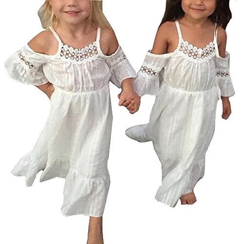Kids Baby Girls Off-Shoulder Princess Party Wedding Dresses Beach Sundress Size 3-4 Years (White) ()