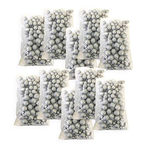BANBERRY DESIGNS Silver Iridescent Foam Balls - Large Set of Glittered Vase Fillers - Table -